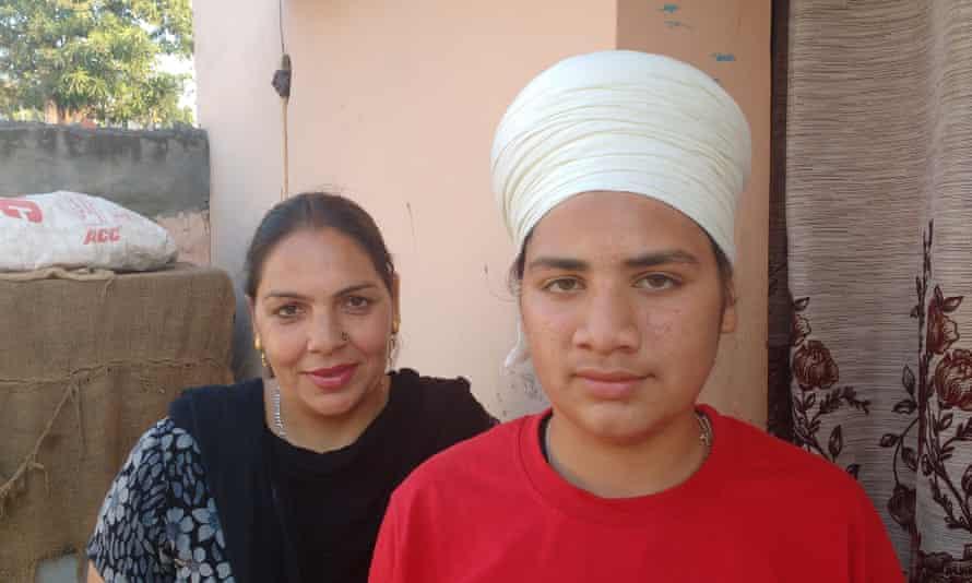 Paramjit Kaur Minhas with her 15-year-old son Gursharanpreet.
