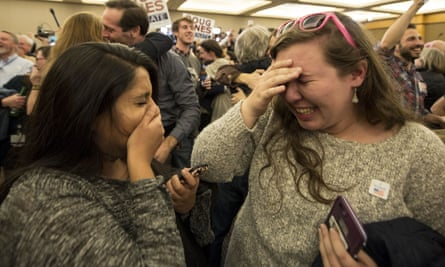 Supporters celebrate the victory of Senator-elect Doug Jones in Alabama.
