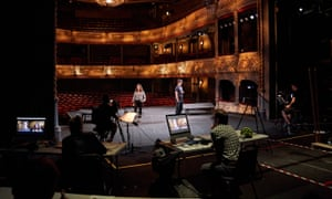 Backstage at the Old Vic during rehearsals for a Zoom production of Lungs.