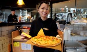 A durian pizza at a restaurant in Shanghai.