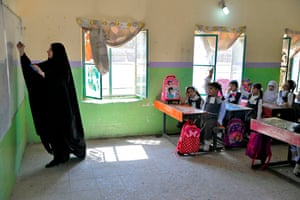 Pupils on their first day of school in Najaf, Iraq