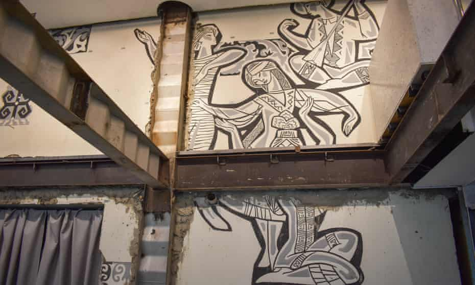 A piece of a rediscovered Almaty sgraffito by the Kazakhstan graphic artist Eugeny Sidorkin (1930-82).