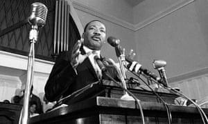 Martin Luther King Jr speaks in Atlanta in 1960.