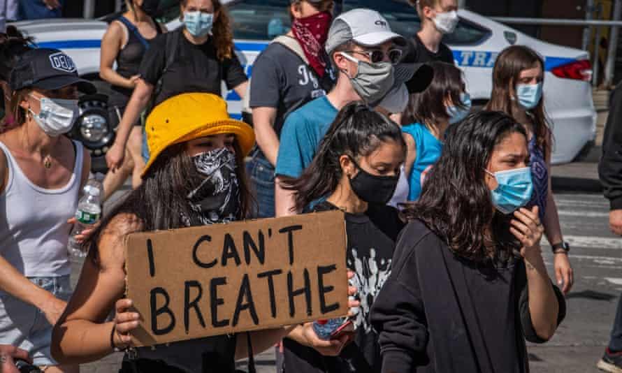 Masked protestors in New York