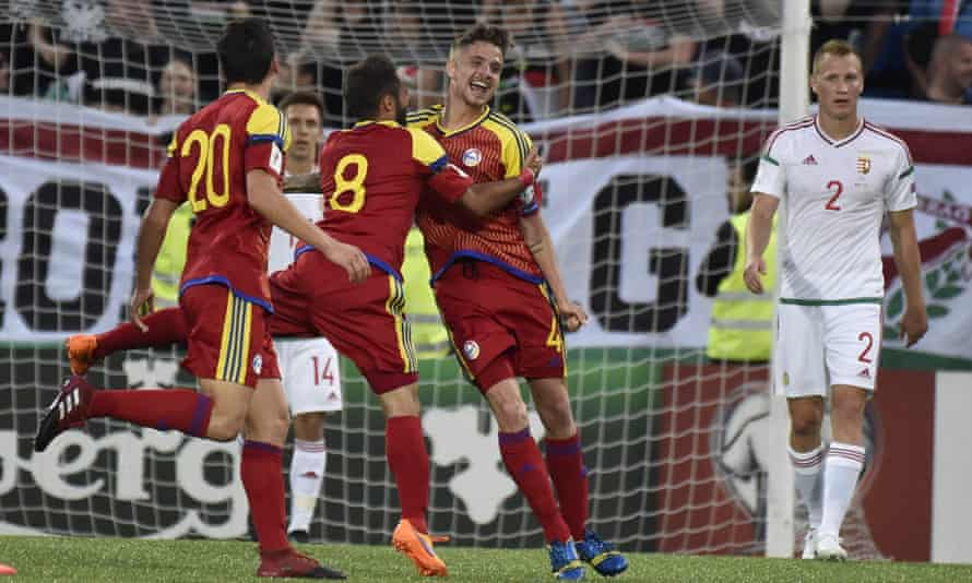 Andorra midfielder Marc Rebes (centre, No4) celebrates his goal against Hungary.