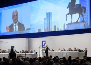 Paul Achleitner, Chairman of the Supervisory Board at Deutsche Bank, speaks at the Deutsche Bank annual shareholders' meeting today.