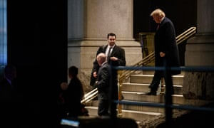 Donald Trump exits the Trump International Hotel after attending the 2019 Maga Leadership Summit in Washington on 28 January 2019.