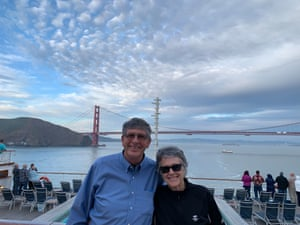 David and Denise Morse aboard the Grand Princess cruise liner, celebrating their 45th wedding anniversary.