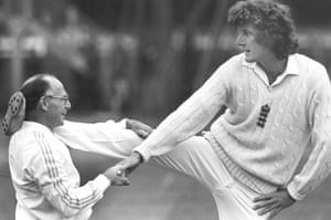 England physio Bernard Thomas helps Willis limber up before the first Test match against India at Edgbaston in July 1979.