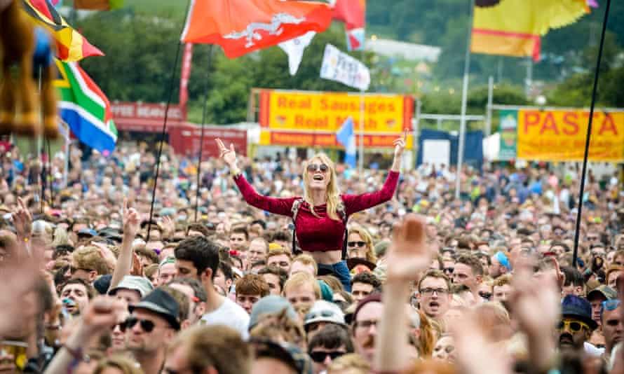 People at Glastonbury festival