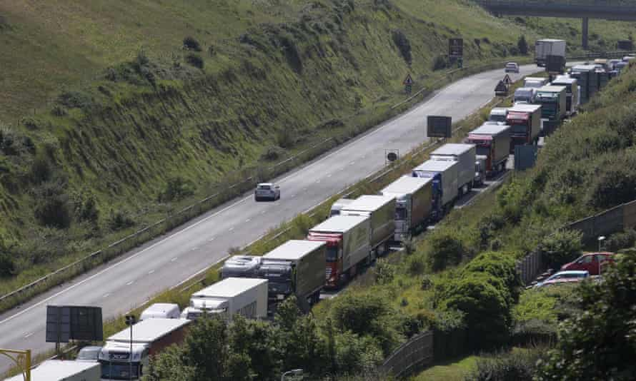 Traffic stands stationary in a traffic jam on the main road leading into the port of Dover in 2016