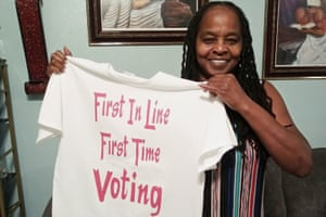 In this photo Betty Riddle in Sarasota, Fla., holds the T-shirt she wore on March 17, 2020, when she voted for the first time. She was barred from voting in Florida until a federal judge intervened.