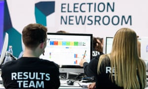 Staff in the ITV newsroom watch the election results