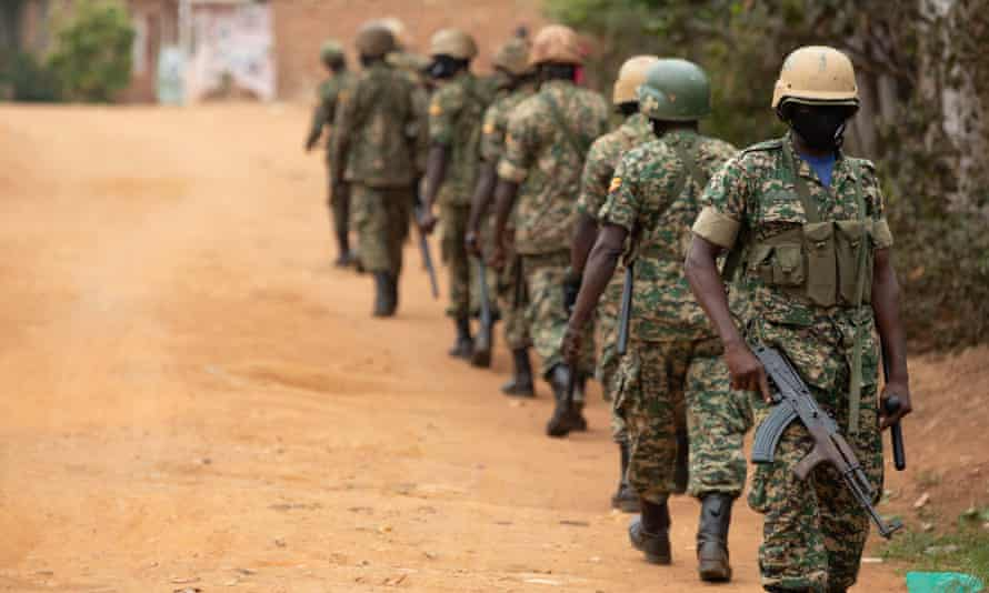 Security forces on patrol in Kampala.