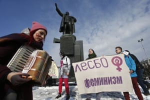 A rally held to support women's rights and protest against violence towards women in Saint Petersburg, Russia
