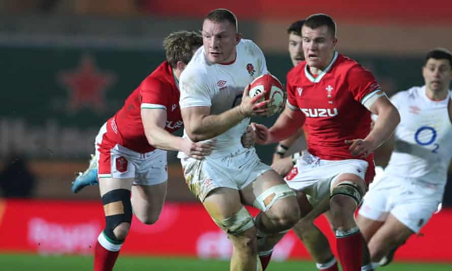 England's Sam Underhill carries the ball at Parc y Scarlets during his man-of-the-match display against Wales.