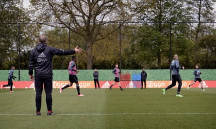 The Ajax players in training.