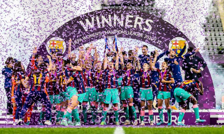 Barcelona celebrate winning the 2020-21 Women's Champions League in May after beating Chelsea 4-0 in the final in Gothenburg.