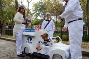 The Good Neighborhood Guy – Tim, Diane and Conner with Blue and Harley as strawberry and chocolate eclairs and Gus in the drivers' seat