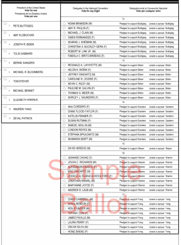 A sample ballot for New York's 16th congressional district.