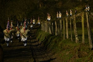 A group of Joaldunaks called Zanpantzar, take part in the Carnival between the Pyrenees villages of Ituren and Zubieta