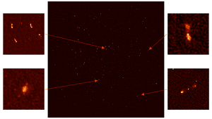 A montage of the MeerKat radio telescope's First Light image with four zoomed-in insets – the two panels to the right show distant galaxies with massive black holes at their centres; at lower left is a galaxy approximately 200m light years away where hydrogen gas is being used up to form stars in large numbers.