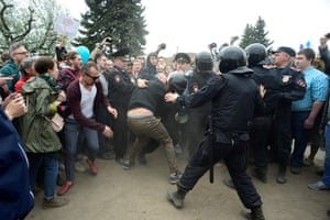 Police clash with participants of an unauthorised rally in St Petersburg