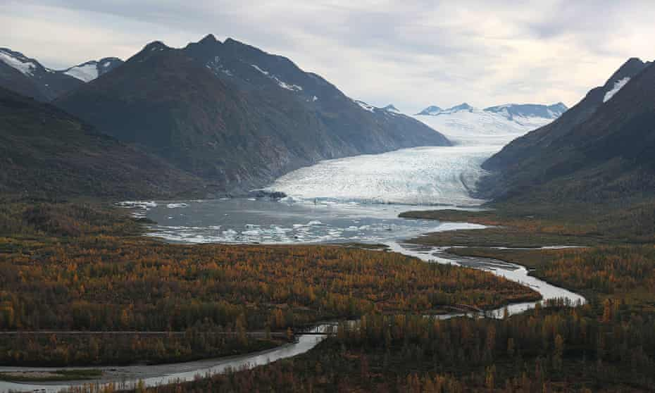 The world's continuously warming climate is revealed also in contemporary ice melt at glaciers, such as with this one in the Kenai mountains, Alaska