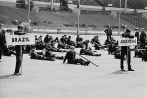 London schoolboys look a bit bored during a rehearsal for the opening ceremony at Wembley Stadium.