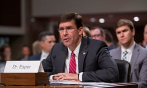 Mark Esper testifies during his confirmation hearing before the Senate armed services committee.