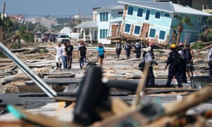 Residents and rescuers amid the storm wreckage in Mexico Beach, Florida.
