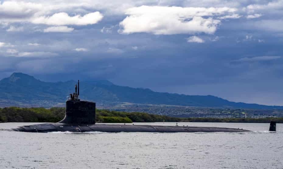 The Virginia-class fast-attack submarine USS Missouri departs Joint Base Pearl Harbor-Hickam.