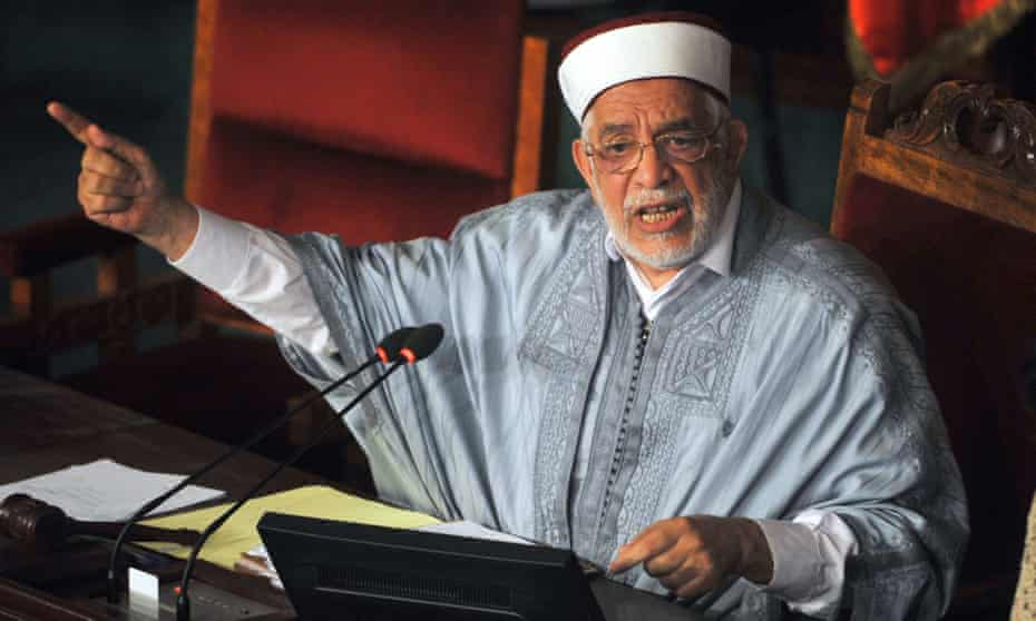The deputy president of the Tunisian Assembly, Abdelfattah Mouro, delivers a speech during a debate on Friday about the new anti-terrorism bill.
