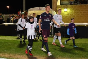 Laurent Koscielny plays for Arsenal's Under-23s against Derby in a Premier League 2 match in Loughborough.