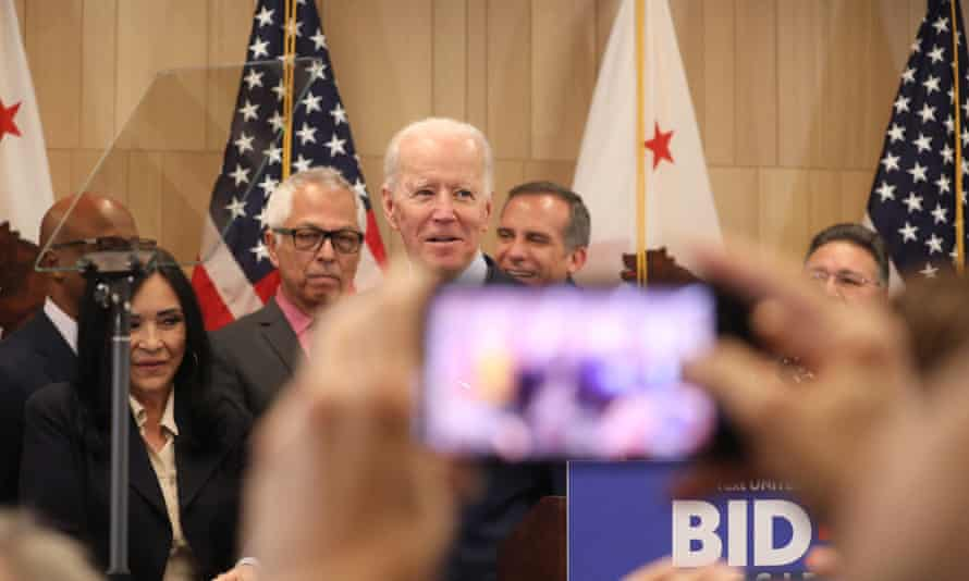 Joe Biden speaks on Wednesday at the W Hotel in West Beverly Hills, Los Angeles.