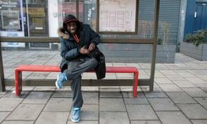 René Lukebana Mansitu in Brixton, south London, waiting for a bus to take him to college