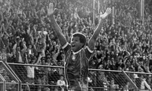 Howard Gayle celebrates scoring for Birmingham in 1983.