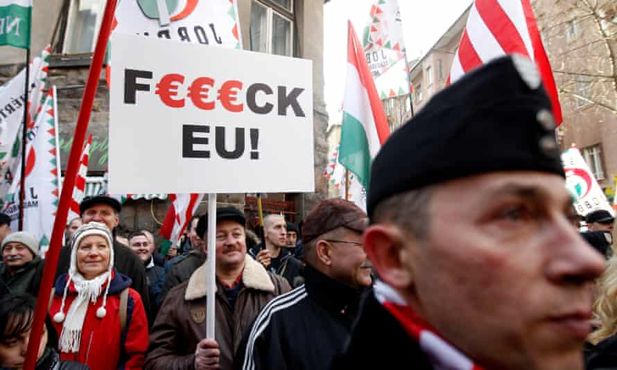 Jobbik party supporters at an anti-EU protest in Budapest in 2012.