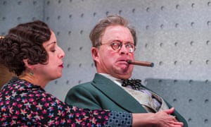 Survival of the dumbest … Claudie Blakley and Harry Enfield in Once in a Lifetime at the Young Vic, London.
