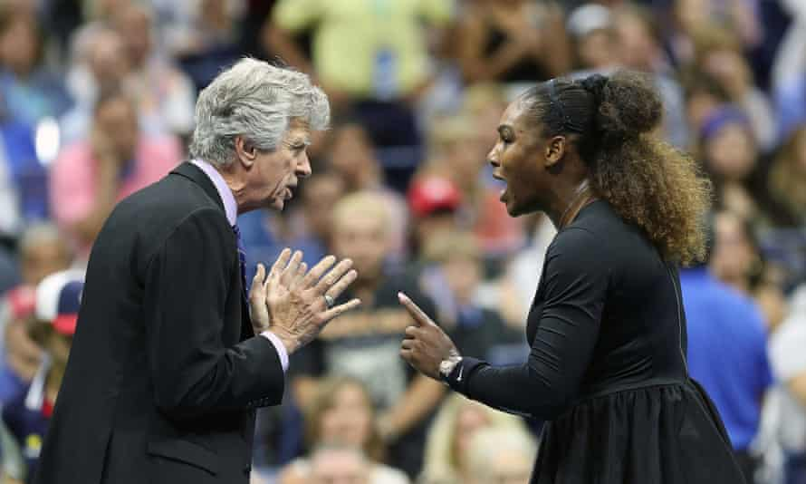 Serena Williams remonstrates with Brian Earley, the US Open referee, after her clash with the umpire Carlos Ramos during her final defeat to Naomi Osaka