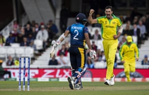Mitchell Starc celebrates after taking the wicket of Kusal Mendis.