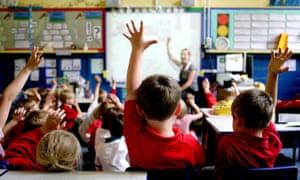 Pupils in primary school classroom