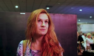 Maria Butina speaks to camera at the FreedomFest conference in Las Vegas, Nevada, on 11 July 2015.
