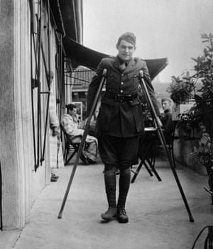 Hemingway on crutches while recovering in Milan in September 1918. He'd been wounded on the Italian front while working as a Red Cross driver