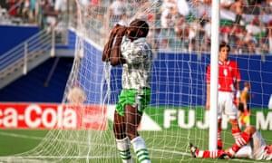 Rashidi Yekini celebrates scoring for Nigeria against Bulgaria.