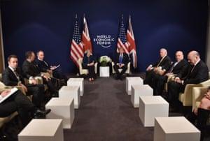 Donald Trump and Theresa May's bilateral meeting at the World Economic Forum.