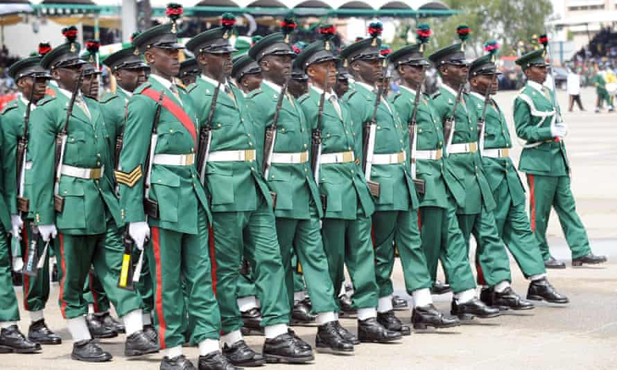 Soldiers during celebrations to mark Nigeria's 50th independence anniversary in Abuja, 2010.
