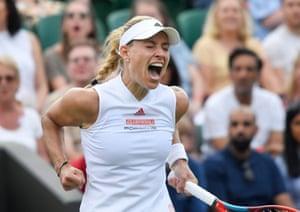 Angelique Kerber berteriak saat pertandingan jarak dekat.