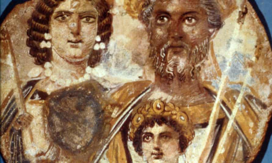 Part of the Severan Tondo featuring Geta's scrubbed-out face.