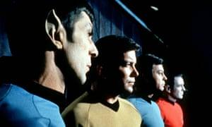 Leonard Nemoy as Commander Spock, William Shatner as Captain Kirk, DeForest Kelley as Doctor McCoy and James Doohan as Commander Scott. Photograph: AP Photo/Startrek